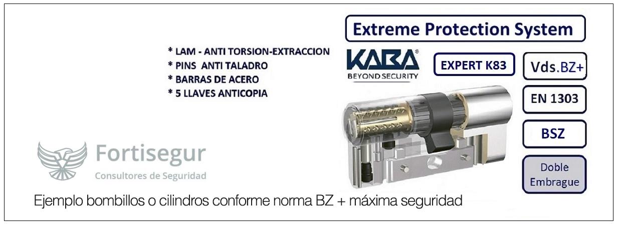 Ejemplo bombillos o cilindros conforme norma BZ + máxima seguridad